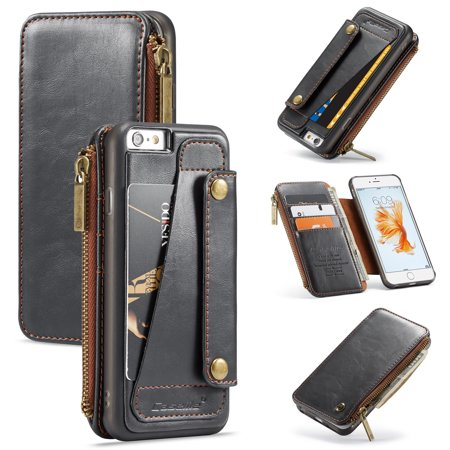 iPhone 6 Case, iPhone 6S Cover, Allytech Detachable Wallet Leather Zipper Cover with Credit Card Slots and Hand Strap Flip Stand Slim Magnetic Clasp Case for Apple iPhone 6/ 6S, (Flip Clasp)