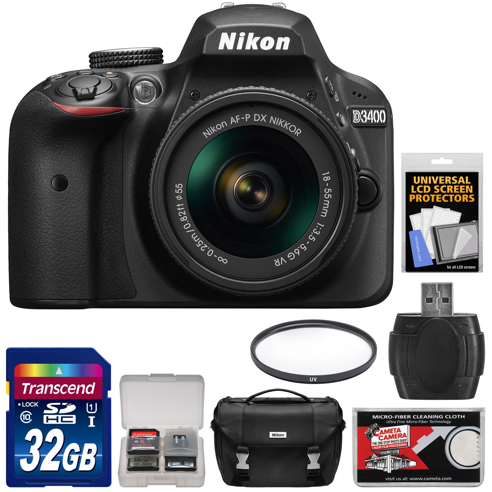 Nikon D3400 Digital SLR Camera & 18-55mm VR DX AF-P Zoom Lens (Black) - Refurbished with 32GB Card + Case + Reader + Filter + Kit