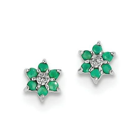 Sterling Silver Rhodium Emerald & Diamond Heart Post Earrings. Gem Wt- 0.12ct - Tiffany Emerald Earrings