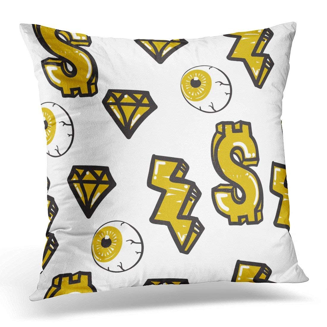 ARHOME Graffiti Original Youth Patterns for Using on Any Items Curtains Yellow and Black Colors Funny Pillows case 18x18 Inches Home Decor Sofa Cushion Cover