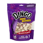 Dingo Mini Bones 35 Count, Rawhide For Dogs, Made With Real Chicken