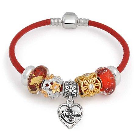 Grandma Family Heart Love Multi Themed Bead Charm Red Leather Bracelet 925 Sterling Silver For Women Barrel (Sterling Silver Barrel Clasp)