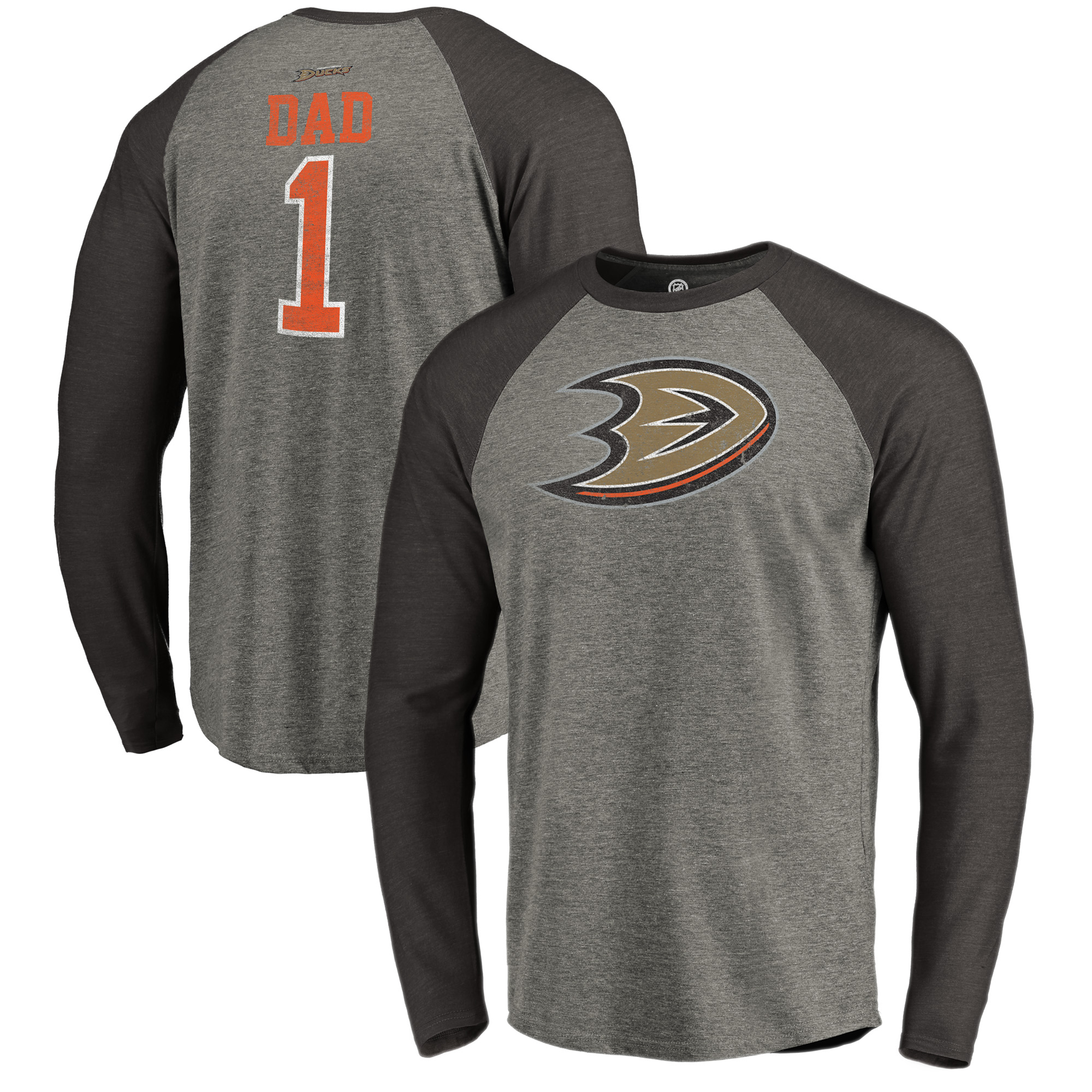 Anaheim Ducks Fanatics Branded Father's Day Greatest Dad Raglan Tri-Blend Long Sleeve T-Shirt - Heathered Gray
