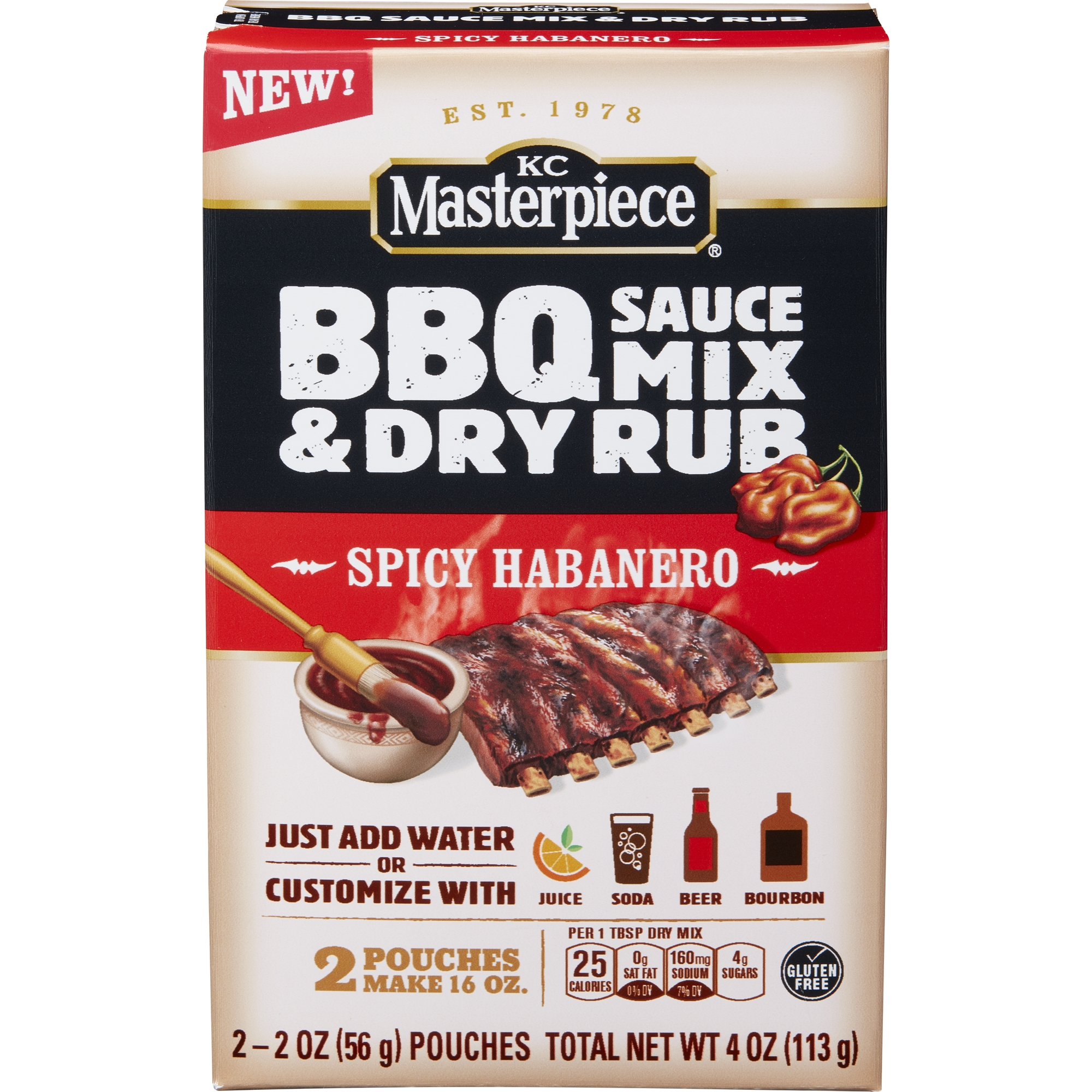 KC Masterpiece BBQ Sauce Mix & Dry Rub, Spicy Habanero, 4 oz