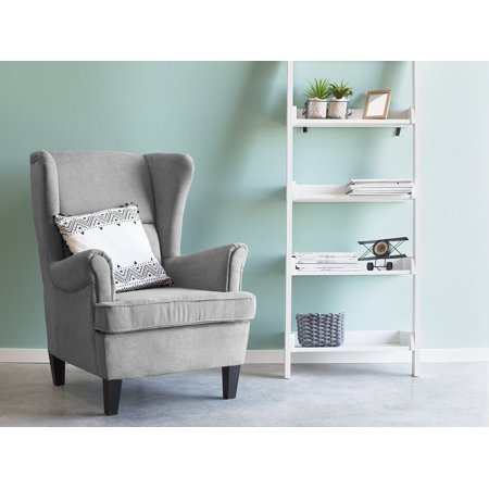 Classic wingback chair upholstered high back gray fabric - High back wing chairs for living room ...