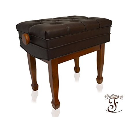 Frederick Artist Deluxe Adjustable Tufted Piano Bench - Walnut Satin