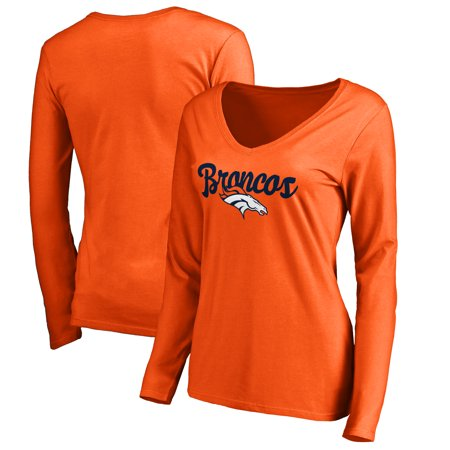 f17c11fc Denver Broncos Women's Plus Sizes Freehand Long Sleeve T-Shirt - Orange