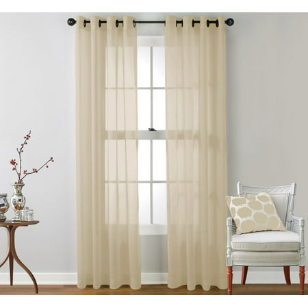 Set of 2 Kim Grommet Top Sheer Voile Curtain Panels 84 inch Long, Beige