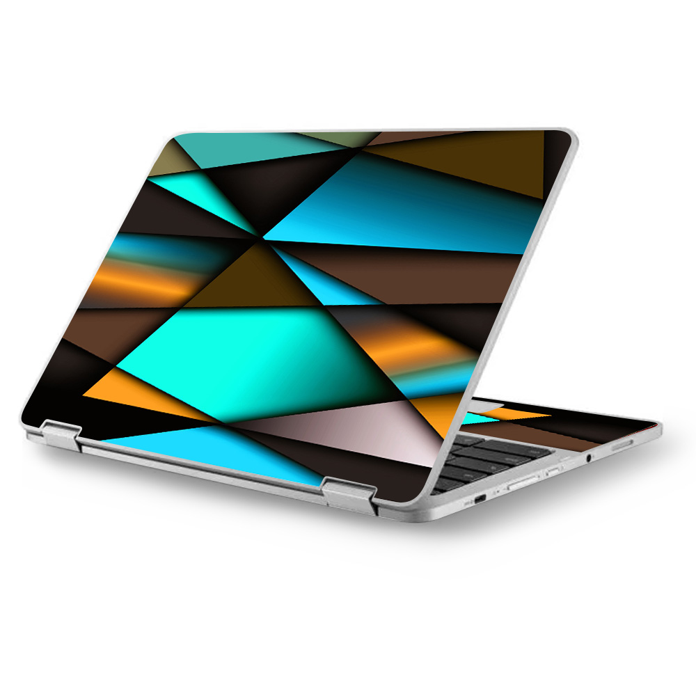 "Skins Decals for Asus Chromebook 12.5"" Flip C302CA Laptop Vinyl Wrap / Awesome Blue Gold Pattern"