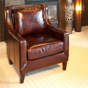 Java Top Grain Leather Accent Chair in Saddle Color