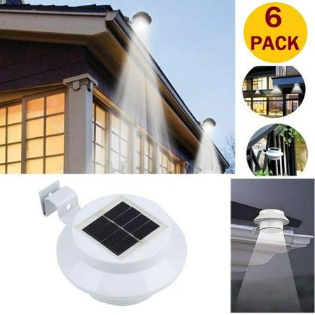 6pack Outdoor Solar Gutter Lights Waterproof Fence Post Wall Mount Decorative Deck Lighting