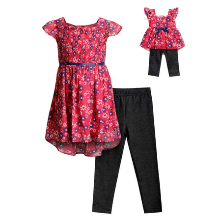 Floral Smocked Tunic and Legging, 2-Piece Outfit Set With Matching Doll Outfit (Little Girls & Big Girls)