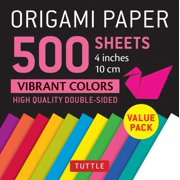 "Origami Paper 500 Sheets Vibrant Colors 4"" (10 CM) : Tuttle Origami Paper: High-Quality Double-Sided Origami Sheets Printed with 12 Different Colors"