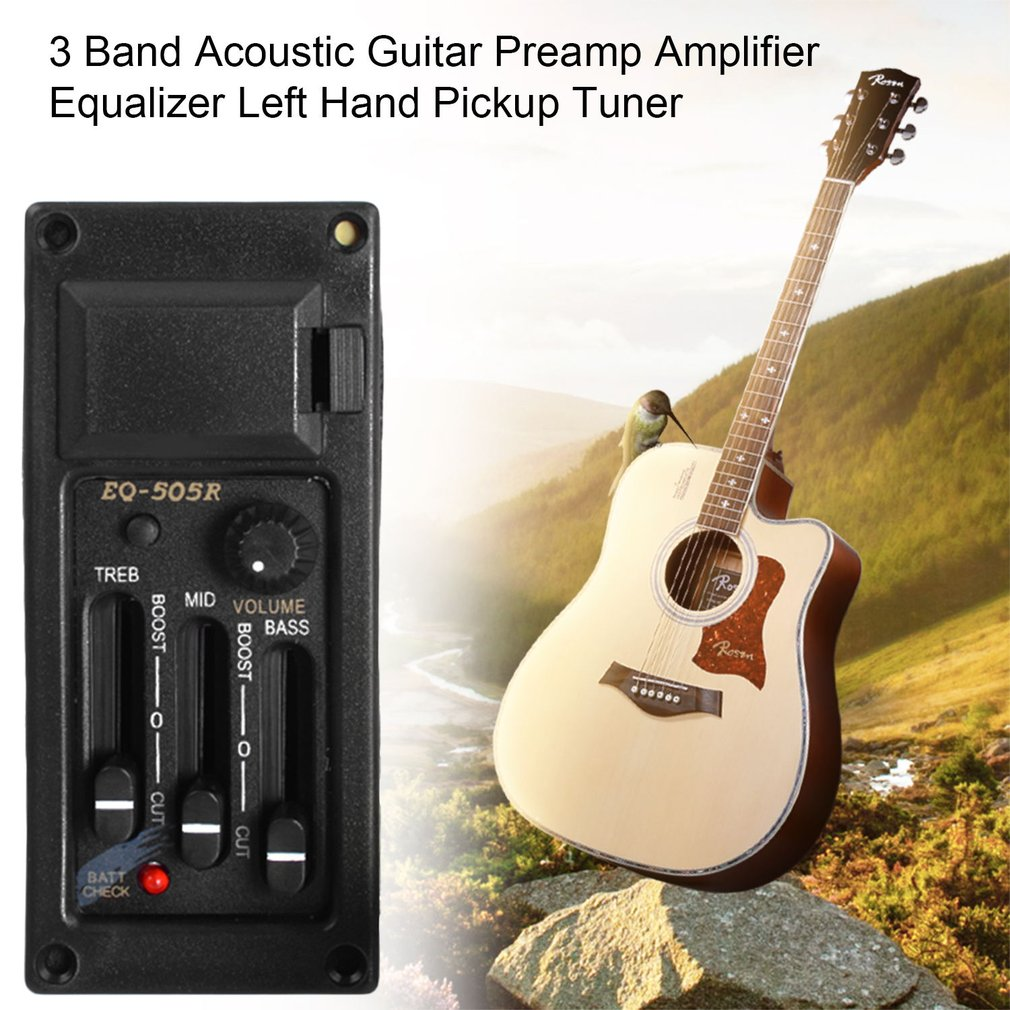 3 Band Acoustic Guitar Preamp Amplifier Equalizer Left Hand Pickup Tuner,Black by