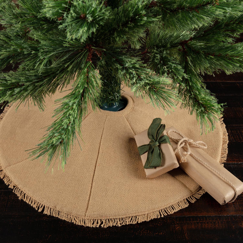 """Natural Tan Farmhouse Christmas Decor Festive Burlap Cotton Cotton Burlap Solid Color 21"""" Diameter Tree Skirt"""