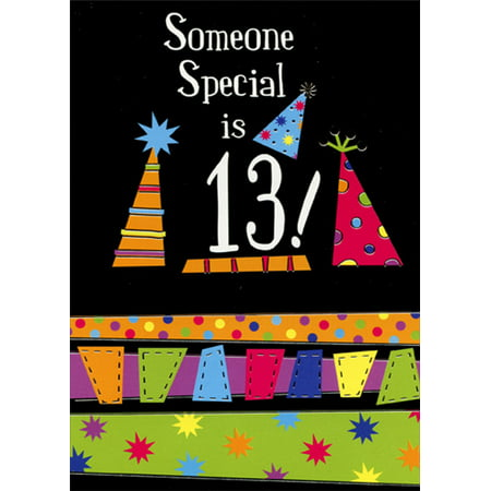 Designer Greetings Someone Special Party Hats on Black Background Age 13 / 13th Birthday