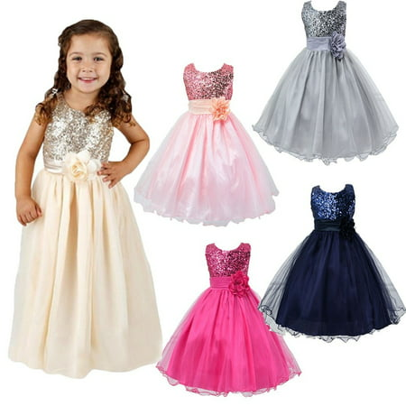 Flower Girl Kids Baby Xmas Bridesmaid Party Formal Sequin Ball Gown Dress 2-10Y](Christmas Dresses For Children)