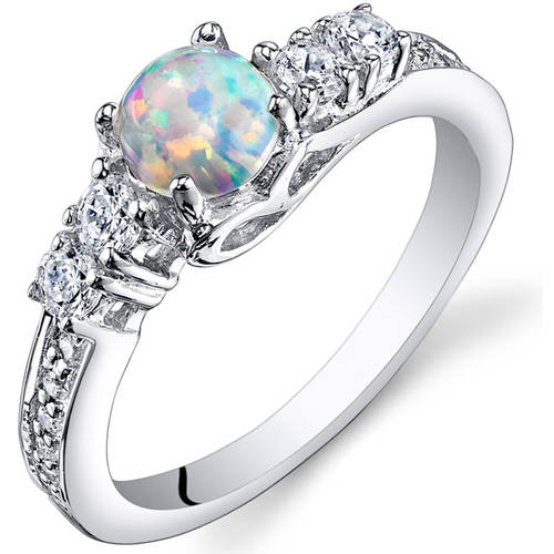 Oravo 0.50 Carat Created Opal Rhodium-Plated Sterling Silver Engagement Ring by Oravo