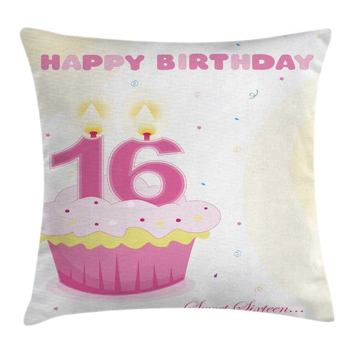 Ambesonne Cool Cupcake Candle Teen Girls Square Pillow Cover