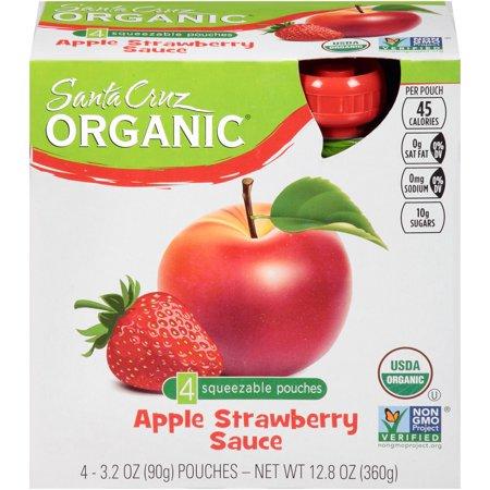 Santa Cruz Organic Apple Strawberry Sauce, 3.2 OZ (Pack of 6) ()