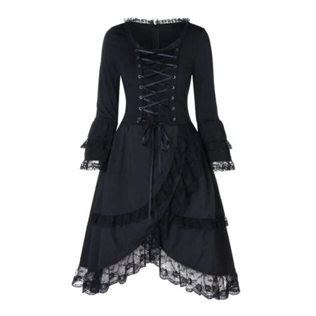 Women's Halloween Costume Evening Party Lace Up Witch Gothic Cosplay Fancy Dress