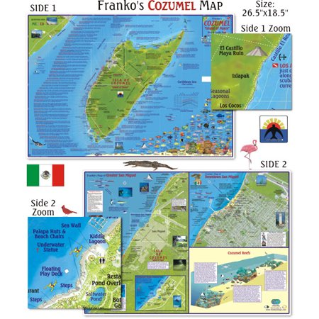 Franko Maps Cozumel Dive Map for Scuba Divers and Snorkelers ()