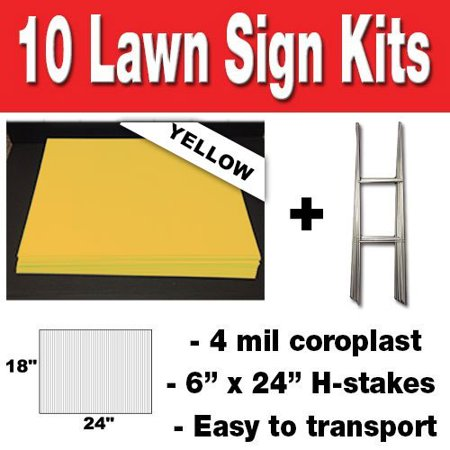 YELLOW Box of 10 quantity Blank Yard Signs 18x24 with h-stakes for Garage Sales Signs, Graduations, or Political Lawn Sign (Halloween Yard Signs Art)