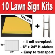 YELLOW Box of 10 quantity Blank Yard Signs 18x24 with h-stakes for Garage Sales Signs, Graduations, or Political Lawn Sign