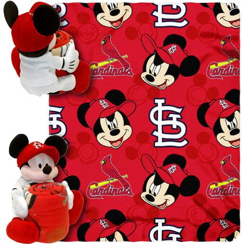 """Disney MLB Pitch Crazy Hugger Pillow and 40"""" x 50"""" Throw Set, St. Louis Cardinals"""