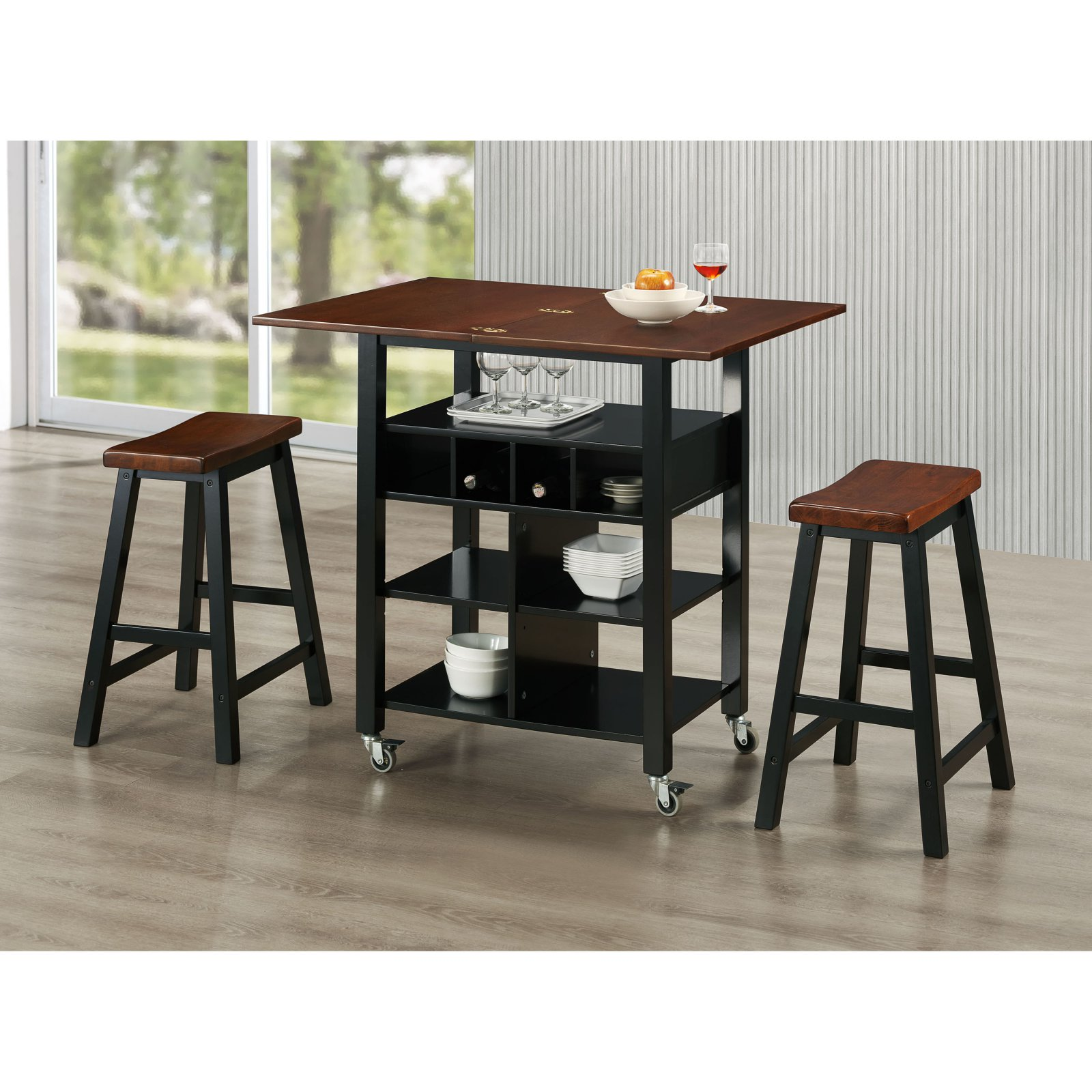 PHOENIX KITCHEN ISLAND AND 2 STOOLS