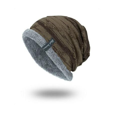 Men Baggy Beanie Knit Hat Winter Warm Fleece Wool Cap Slouchy Skull Ski Hat Wool Skull Cap