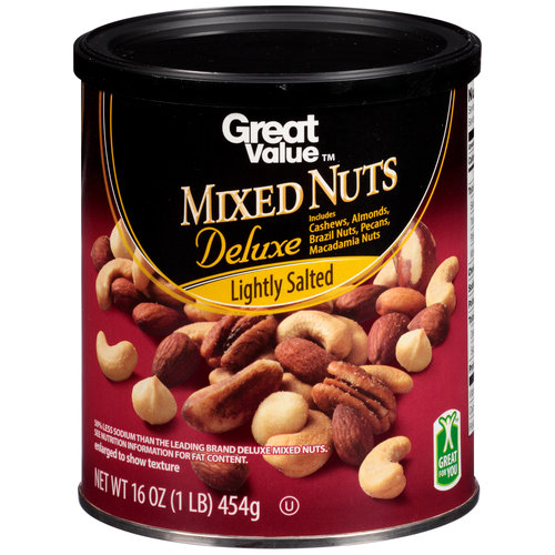 Great Value Lightly Salted Deluxe Mixed Nuts, 16 oz