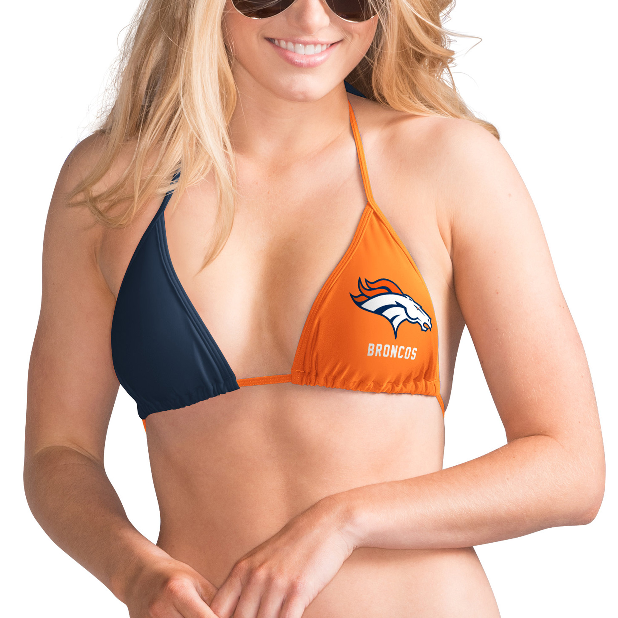 Denver Broncos G-III 4Her by Carl Banks Women's Game Day Pickoff Bikini Top - Orange/Navy