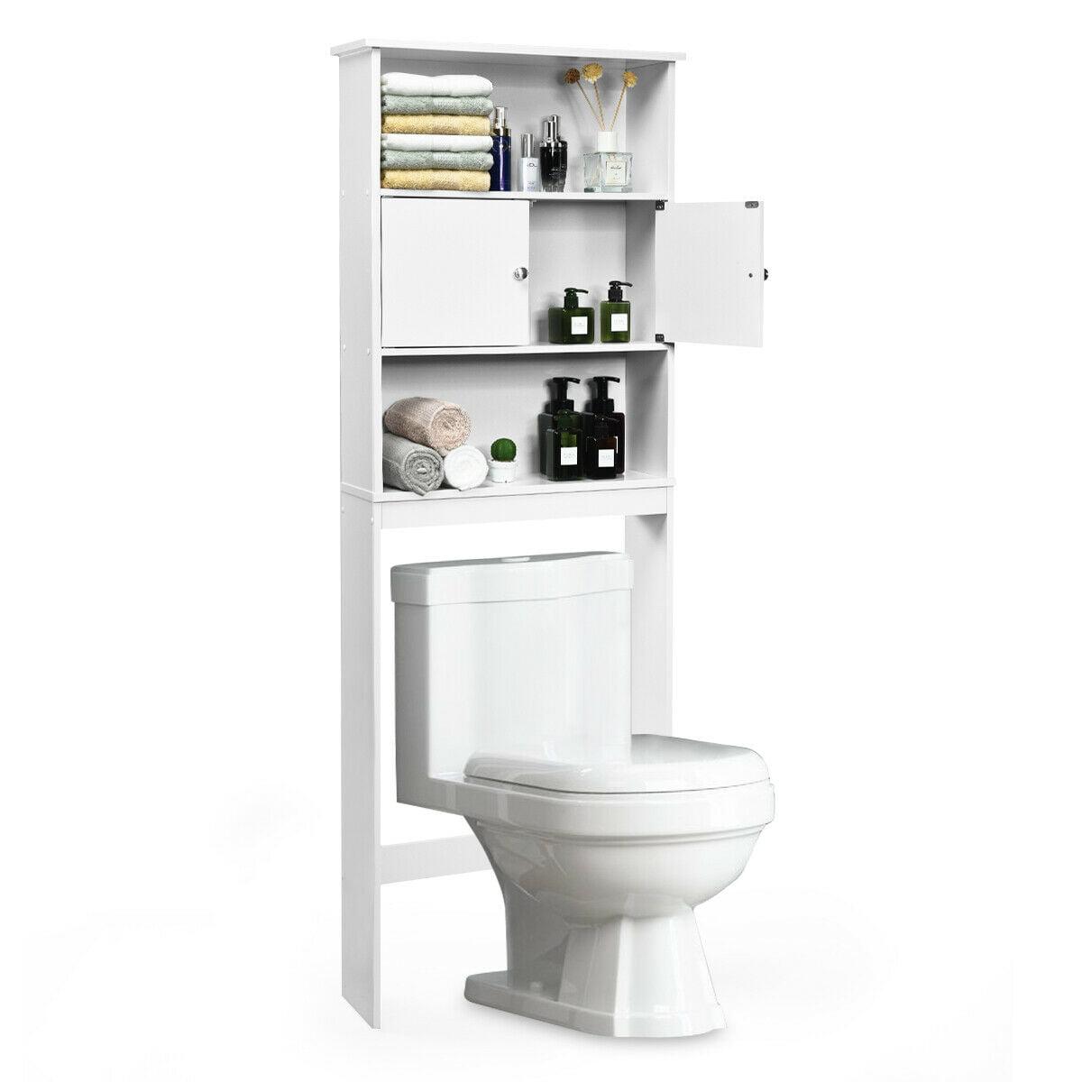 Gymax Bathroom Wood Organizer Shelf Over The Toilet Storage
