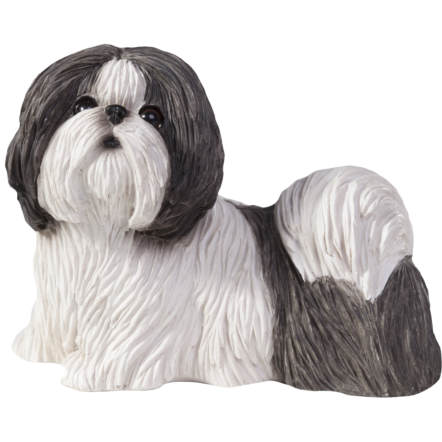 "Sandicast ""Small Size"" Standing Silver & White Shih Tzu Dog Sculpture"