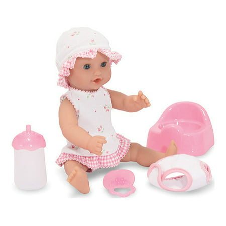 Melissa & Doug Mine to Love Annie 12-Inch Drink and Wet Poseable Baby Doll With Potty, Bottle, Pacifier, Diaper, (Silk Baby Doll Dress)