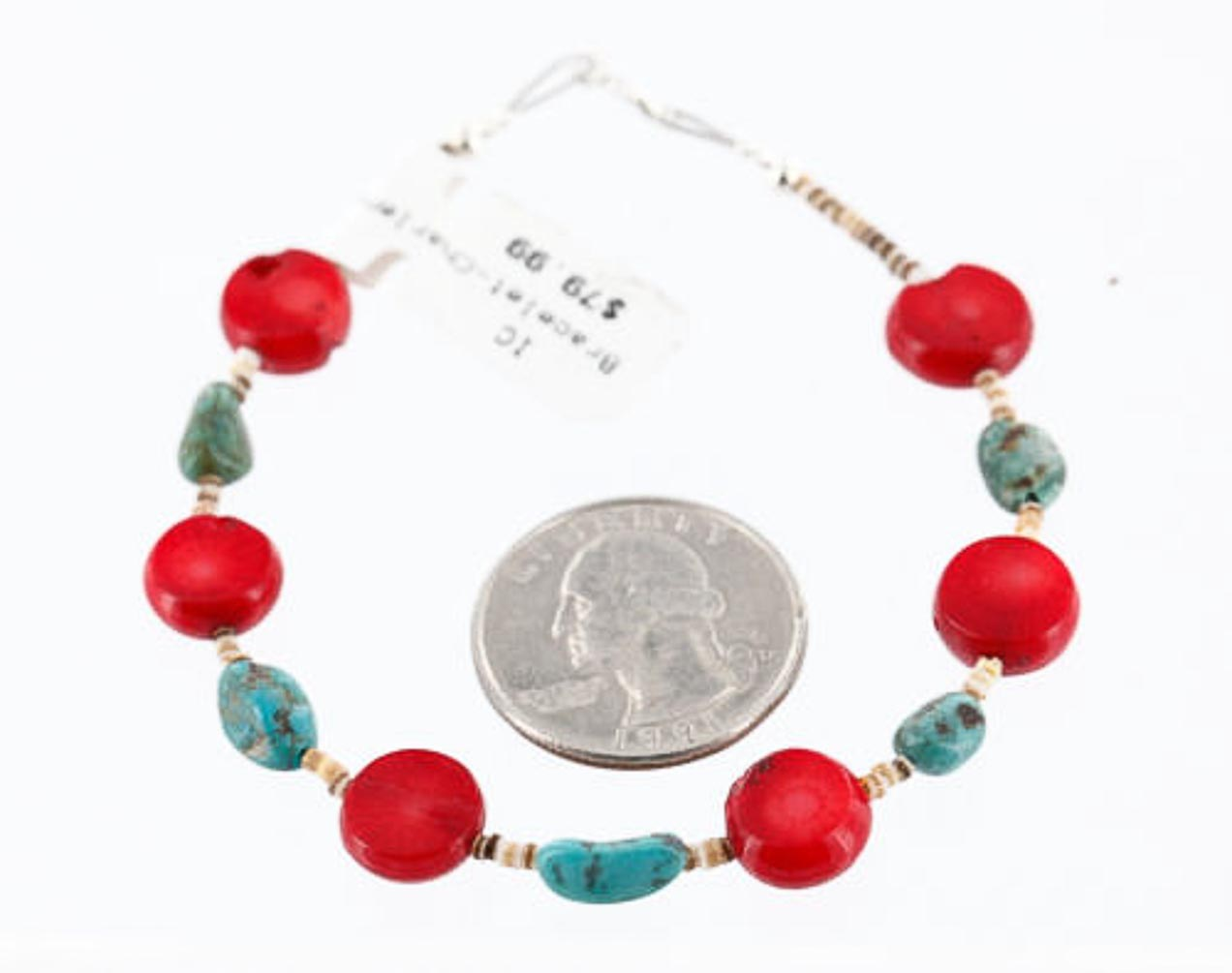 80 Retail Tag Authentic Made by Charlene Little Navajo .925 Sterling Silver Natural Turquoise and CORAL Native American... by