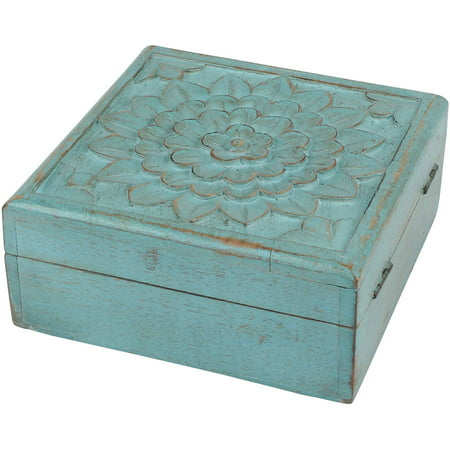 Weathered Sky Blue Wooden Box with Hinges and Carved Floral Design - Hinged Wooden Box