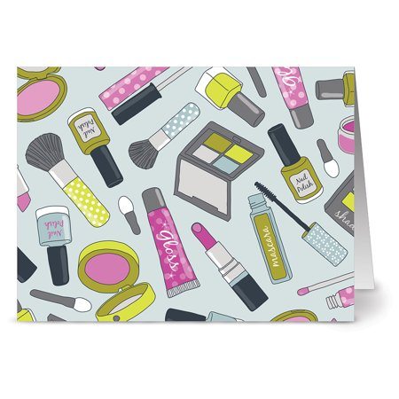 24 Note Cards - Girly Makeup - Blank Cards - Hot Pink Envelopes
