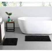 VCNY Home Gala Chenille Noodle 2-Piece Bath Rug Set, 17 x 24 and 21 x 34, Black