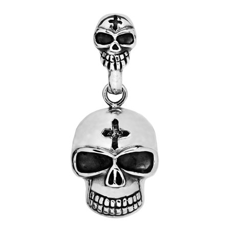 Stainless Steel 316L Skull with Cross in forehead Pendant (Necklace not Included)