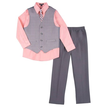 Boys 4 Piece Suit Peach & Gray Dress Up Outfit Holiday Shirt Tie Pants & Vest](Baby Boy Dress Up Clothes)