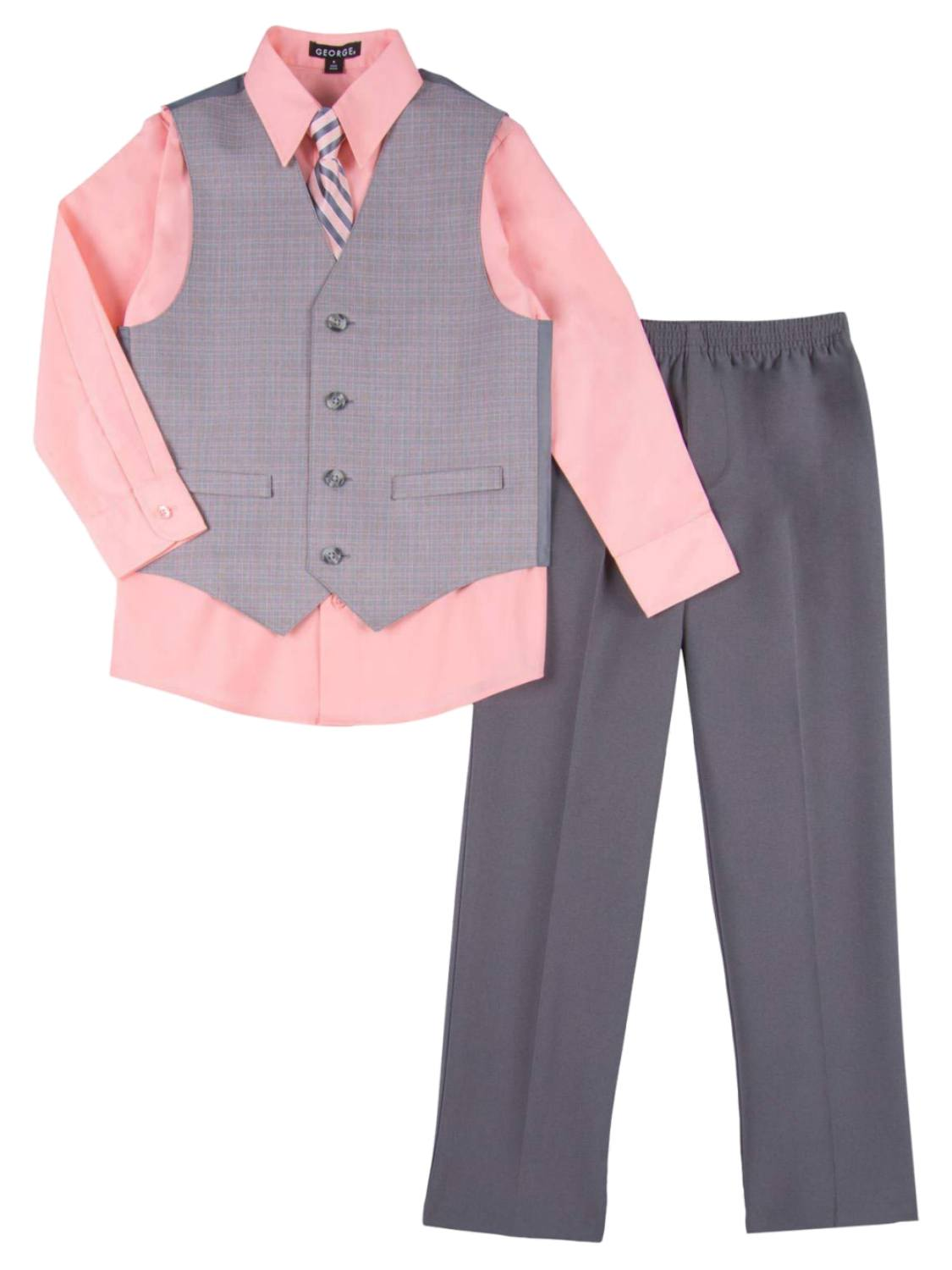 Boys 4 Piece Suit Peach & Gray Dress Up Outfit Holiday Shirt Tie Pants & Vest