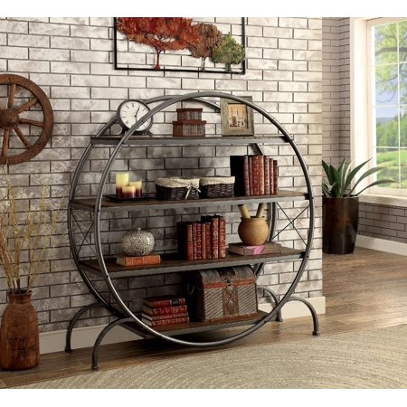 Furniture Of America Fort Industrial Bookshelf Dark Gray Black