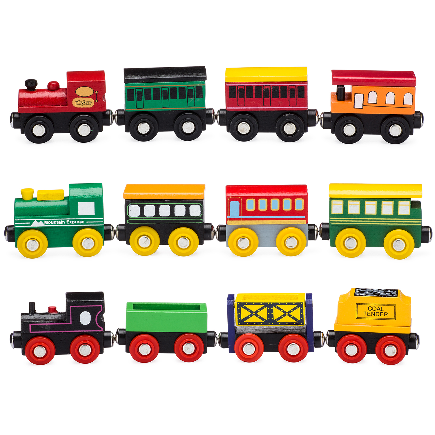 Playbees 12 Piece Wooden Toy Train Cars & Engine Set Compatible w  Other Tracks by Playbees