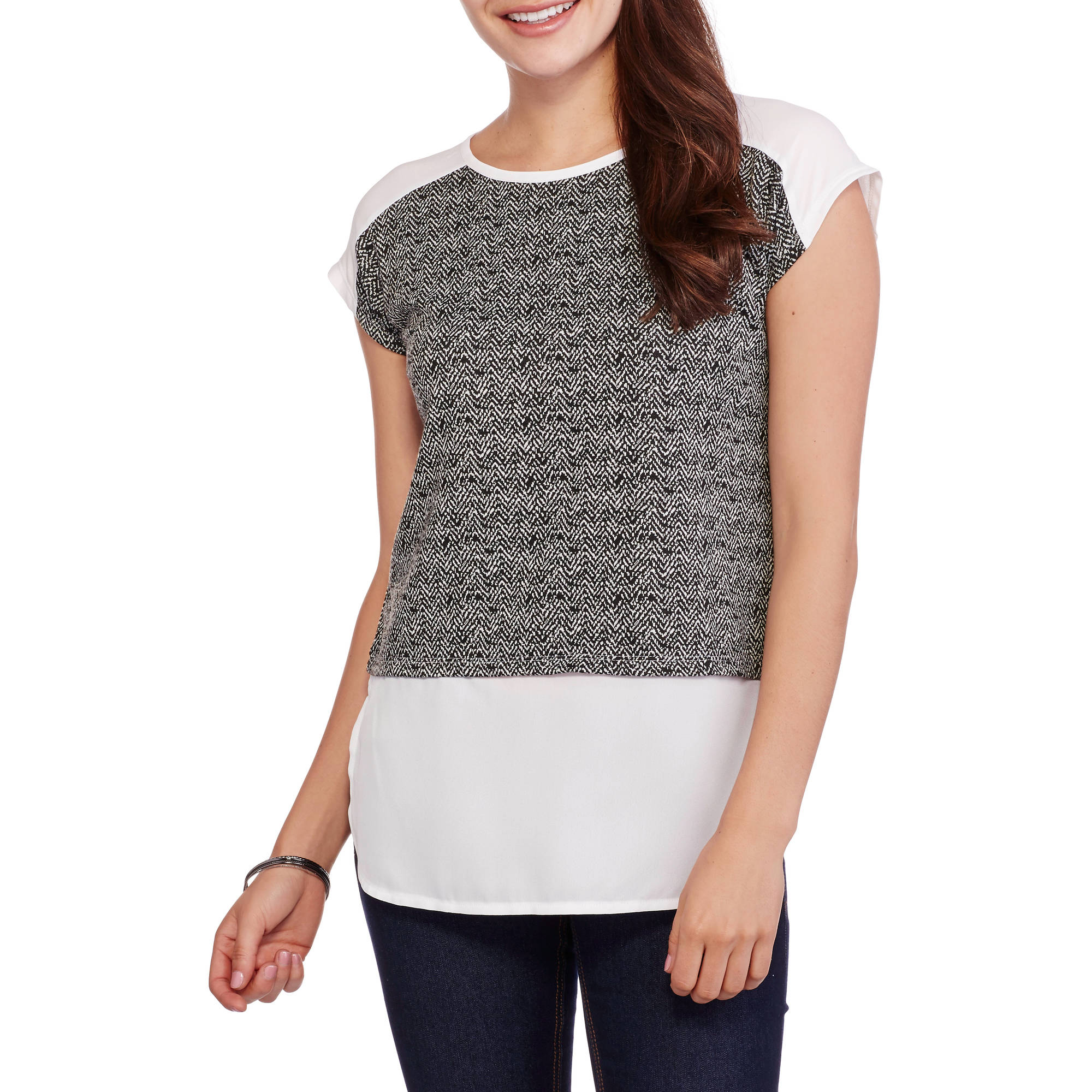 Concepts Women's Textured Top with Sleek Woven Inset