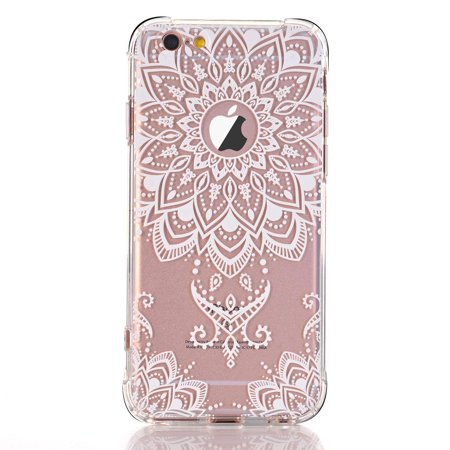Iphone 6 6s Case White Henna Mandala Transparent Clear Design Tpu