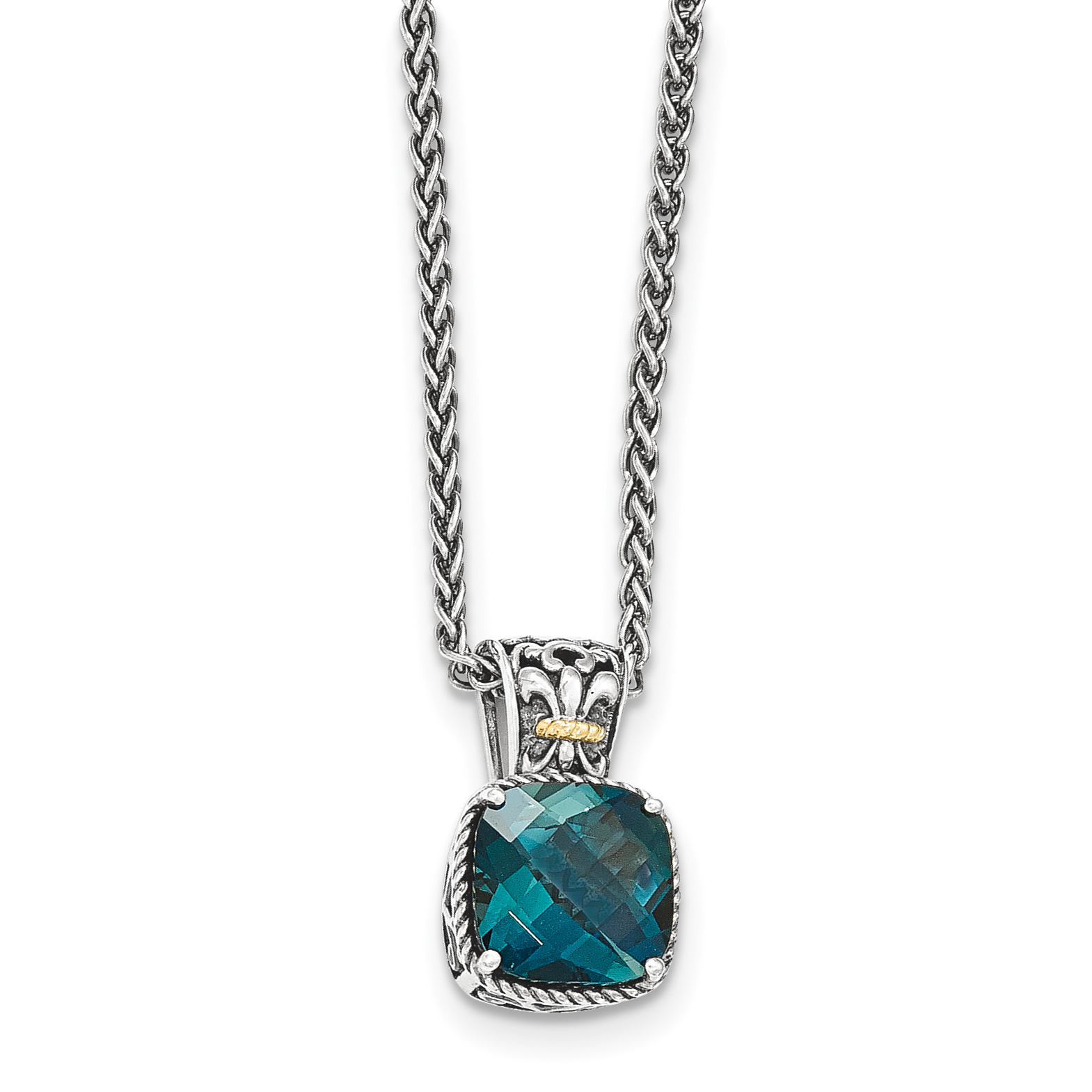 14k  Silver Two-Tone w  London Blue Topaz Necklace by