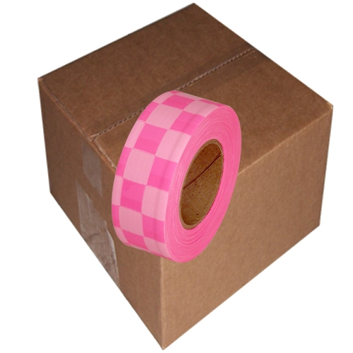12 Roll Case of Fluorescent Pink and White Checkerboard Flagging Tape 1 3/16 inch x 100 ft Non-Adhesive