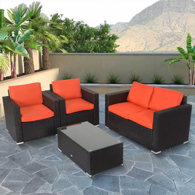 Kinbor 4pcs Outdoor Patio Furniture Pe Rattan Wicker ...